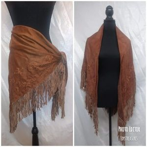 Nwt Suede Brown Cejon Embroider Wrap/Shawl
